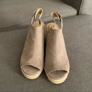 Tan suede-like sandals